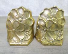 DOGWOOD TREE FLOWER BOOKENDS Gold Brass Finish Pair Doorstops Decor PM Craftsman