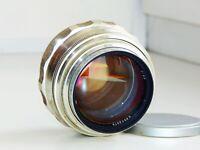 RARE SILVER JUPITER-9 2/85 mm Soviet Carl Zeiss Sonnar copy SLR lens M39 EXC