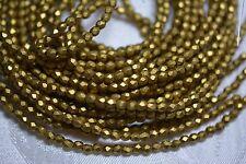 Czech Fire Polished 3mm round faceted glass beads - Matte Metallic Aztec Gold