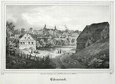 Eibenstock-vista general-Saxonia-litografía 1841