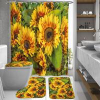 4PC/Set Anti-Slip Bathroom Pedestal Rug+Lid Toilet Cover+Bath Mat+Shower  US