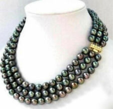 """Fashion jewelry 3Rows 6-7MM Natural Black Akoya Freshwater Pearl Necklace 17-19"""""""