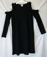 Girls River Island Black Textured Cold Shoulder Stretchy Dress Age 9-10 Years