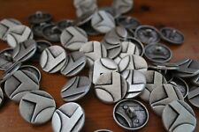 6x Vintage Abstract Solid Metal Buttons ~ 22mm