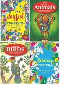 MIND RELAXING COLOURING BOOK BOOKS Kids - Adult Stress Relief Colour Therapy Fun
