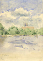 Dorothy Willis - Mid 20th Century Watercolour, Factory and Boats