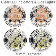 2 RDX LED 73mm Front Side Lights & 2 Clear Indicator Lights Kit Defender 90 110