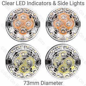 2 RDX LED 73mm Vorne Lichter & 2 Klar Blinker Lichter Set Defender 90 110