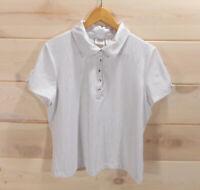 Chico's Zenergy Golf Size 2 Women's L Polo Shirt White Sliver Quarter Snap Top