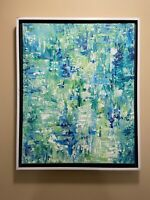Blue white & Green abstract original modern acrylic canvas painting 16x20