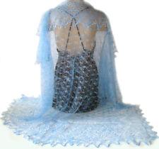 Châle - Cadeau original femme - Châle Bleu - Châle Russe Orenbourg Tricote main