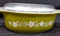 Vintage Pyrex Spring Blossom Green Crazy Daisy 043 1.5 Quart Casserole Dish Lid