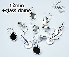 10 x 12mm Earring Findings Setting silver trays and matching dome inserts