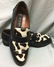 Vittorio Ricci Black Leather Loafers/Slipons Wmn's US 8. Spotted Cowskin vamp