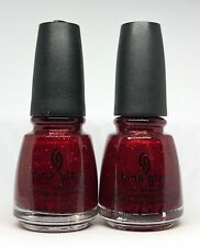 China Glaze Nail Polish Ruby Pumps 182 Sparkly Micro Glitter Rich Red Lacquer