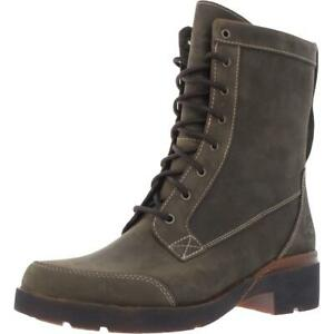 Timberland Womens Green Leather Lace-Up Boot Shoes 8 Medium (B,M) BHFO 8279