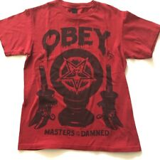Obey Men's T-Shirts, Red Size S Short Sleeve Masters of the Damned