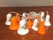 ORANGE WHITE Ceramic Porcelain BERRY LEAF Fern Cow Bell Shape Strung WIND CHIMES