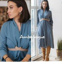 ZARA NEW BLUE MIDI FLOWING DRESS WITH BELT FRONT KNOT SIZE S UK 8