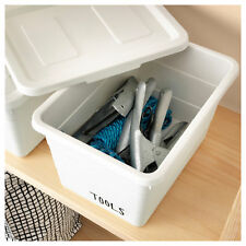 IKEA SOCKERBIT Small White Plastic Storage Box & Lid (19x26x15cm)