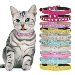 Suede Leather Bling Rhinestone Diamante Dog Collar Soft Cat Puppy Dog Small Pet