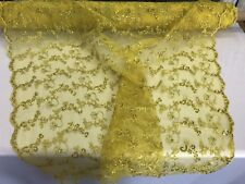 Dark Gold Floral Embroidery With Sequins And Cord On A Mesh-Sold By Yard.