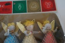 Vintage Lot of 3 Shiny Brite Christmas Pipe Cleaner Angel Ornaments in Package
