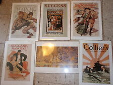 VINTAGE LOT OF 6 POSTER PRINTS IN PLASTIC ON FOAM BOARD 16 X 11 1/2 SUCCESS MAG.
