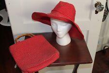 San Diego Hat Co. Red Large Brim Derby Hat & Matching Purse KY Derby