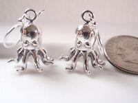 Octopus 925 Sterling Silver Dangle Earrings ocean sea calamari