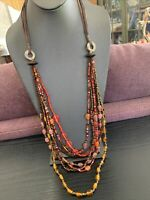 """Vintage Bohemian 7 strand glass seed bead multi strand waterfall necklace 33"""""""