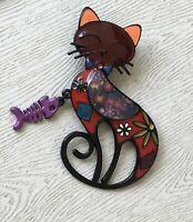 Adorable  artistic  Cat  with dangle fish large Brooch Pin in enamel on Metal