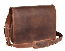 Real Leather Flap Over Shoulder Bag Organiser Satchel Messenger Vintage Oil Tan