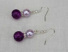 Posh Purple Lilac Glass Pearl Crystal Rondell Ladies Pierced Dangle Earrings New