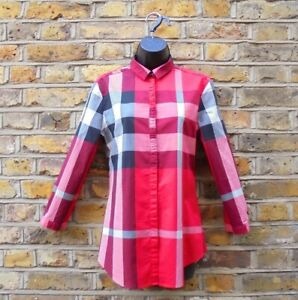 BURBERRY BRIT Womens Fred Red Nova Check Long Sleeve Shirt Blouse Top Size Small