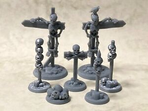 Skeleton terrain markers and road signs for tabletop & roleplaying games