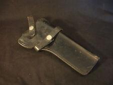 """Old Vtg Black Leather Gun Pistol Holster 10"""" Long"""