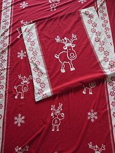 Bettwäsche 2-teilig Microfleece rot Weihnachten Elch Schneeflocken