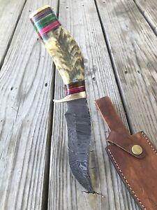 "10""CUSTOM HAND FORGED DAMASCUS STEEL HUNTING KNIFE W/ Ram Horn & BRASS HANDLE '"