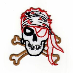 An50 Skull Pirate Tattoo Skull Sew-On Iron-On Application 3x3 1/8in