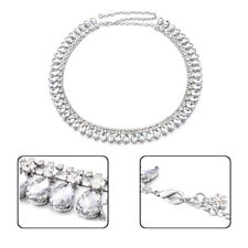 Women Ladies Silver Rhinestone Diamante Belt Chain Waist Bridal Wedding Dresses