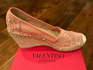 "Valentino Pink Lace ""Zeppa"" Espadrille Wedge Heels, Sz 8.5 (US) 38.5 (IT), NIB!"