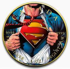 2016 SUPERMAN SHIRT Colorized Gold Gilded 1oz .9999 Silver Coin - Box & COA