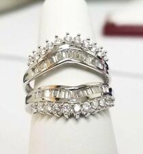 Bridal Set Ring 14k White Gold Fn Round & Baguette Diamond Enhancer Wrap Guard