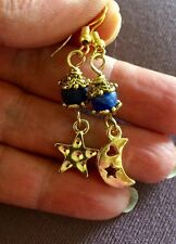 Star and Moon Dangle Charm Earrings With Sodalite Stone