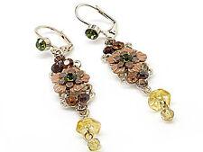 A8V Vintage Victorian Look Floral Tan Multi Crystal Flower Leverback Earrings