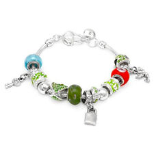 Lovely Charm Bracelet W/Genuine Crystal & Glass Beads in 925 Sterling silver