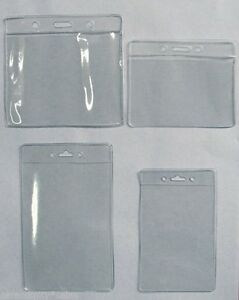 2 Two Clear Plastic Badge ID Holders with Slot at Top ~ 4 Sizes to Choose from