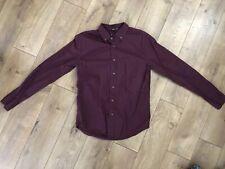 Forever 21 Men Burgundy Long Sleeve Button Down Collared Shirt Mens XS