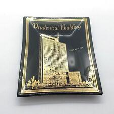 Vintage Prudential Building Chicago Souvenir Ashtray Glass Black Gold Landmark